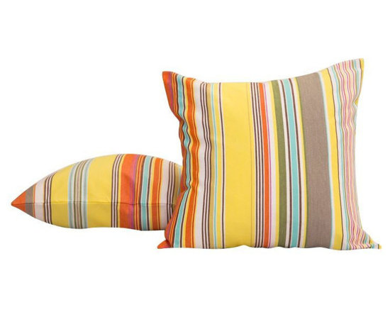 New Yellow French Striped Throw Pillow - $300 Est. Retail - $125 on Chairish.com -