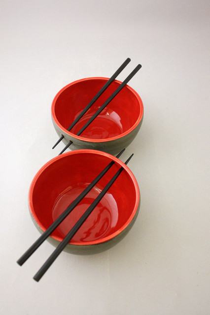 Pair Of Chopstick Bowls In Graphite Gray And Cherry By NstarStudio asian-dining-bowls