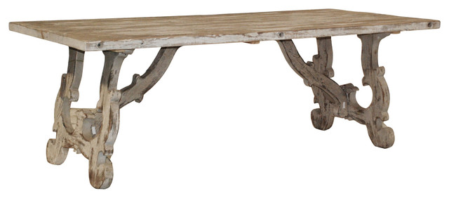 Vennie Distressed Pine Antique White Dining Table - contemporary