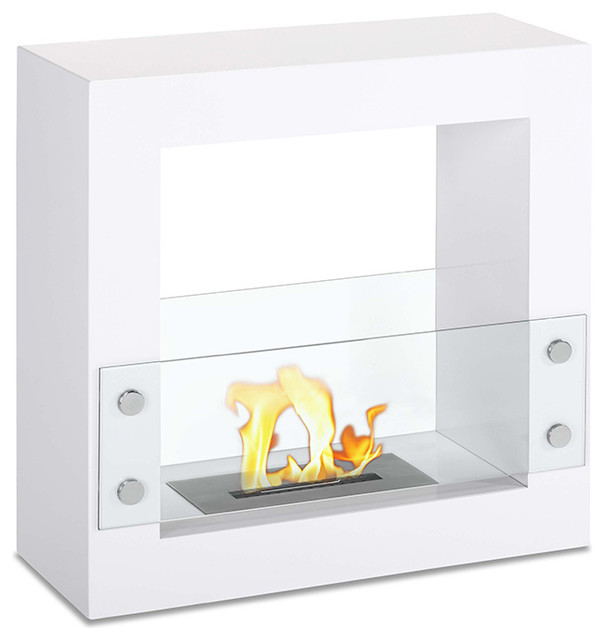 Tectum Mini White Freestanding Ventless Ethanol Fireplace