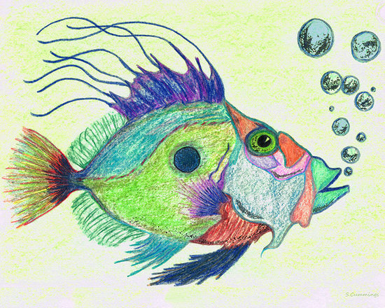 Animals, Fish and Birds - Funky Fish Art - By Sharon Cummings