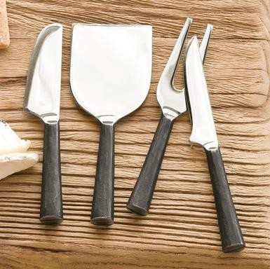 Artisan Cheese Knives, Set of 4 modern knives and chopping boards