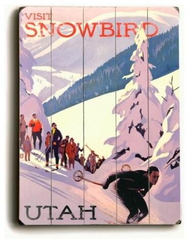 14 x 20 in. Snowbird Utah Wood Sign contemporary-artwork