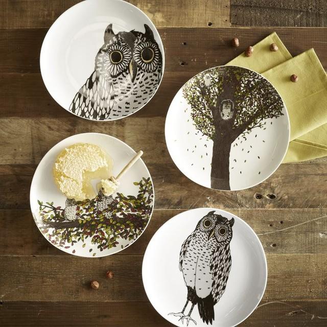 Owl Dessert Plates, Autumn contemporary-dinner-plates