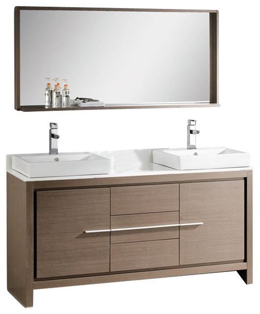 Fresca Allier 60 Modern Double Sink Bathroom Vanity Grey Oak Modern