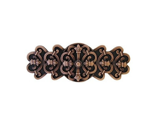 """Inviting Home - Chateau Pull (antique copper) - Hand-cast Chateau Pull in antique copper finish; 4-1/8""""W x 1-5/8""""H; Product Specification: Made in the USA. Fine-art foundry hand-pours and hand finished hardware knobs and pulls using Old World methods. Lifetime guaranteed against flaws in craftsmanship. Exceptional clarity of details and depth of relief. All knobs and pulls are hand cast from solid fine pewter or solid bronze. The term antique refers to special methods of treating metal so there is contrast between relief and recessed areas. Knobs and Pulls are lacquered to protect the finish. Detailed Description: The Chateau pulls are a very dramatic accessory to any cabinets or drawers. Pulls are inspired by the designs used all over the French country-side chateaus. They were the houses in which nobility resided. The Chateau design is meant to look strong an unyielding while giving an incredibly elegant and delicate touch. The Chateau pulls are a great match with the Chateau knobs."""