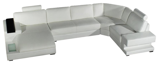 Orion white bonded leather sectional sofa with built in for Modern black leather sectional sofa with built in light