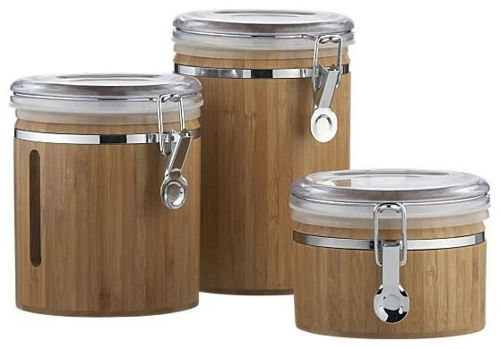 Bamboo clip canisters contemporary kitchen canisters for Cuisine wooden