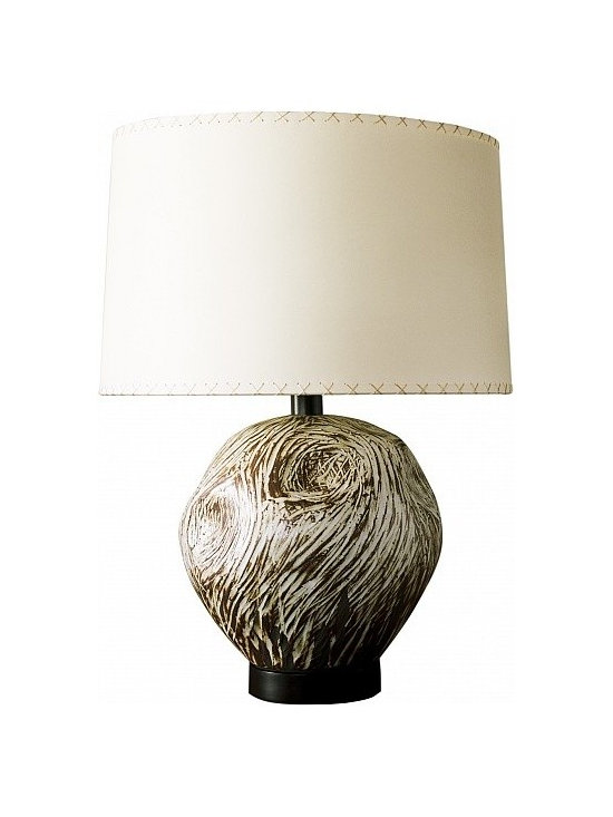Hairy Ovoid Lamp by Clate Grunden - Individually unique hand built glazed stoneware form with an undulating carved surface pattern. Shown in a matte white glaze on a dark brown clay body. Includes a custom stained dark walnut base and a pattern paper shade with hand- stitched details. Other finishes available.