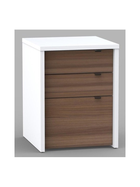 """Nexera - Liber-T Three Drawer File Cabinet in White/Walnut - We all have different needs and preferences so why not have a collection that caters to what you want? Express your creativity with the brand new Liber-T collection from Nexera. Entertainment center, home office, storage and decoration - this collection does it all! With its unique modular conception that lets you mix and match the different items you're sure to find your own perfect configuration. The contemporary Liber-T collection is offered in white and walnut anthracite melamine with adjustable legs, metal handles and metal glides. Features: -File cabinet. -Liber-T collection. -White/walnut finish. -Engineered wood/melamine construction. -Contemporary style. -Legal file can be fit in drawer. -Two utility drawers. -Three drawers with metal glides. -Metal drawer pulls. -Assembly required. -Manufacturer provides 5 year warranty against material defects or workmanship. -Overall dimensions: 22.81"""" H x 18.69"""" W x 17.69"""" D."""