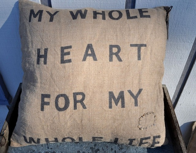 My Whole Heart Burlap Pillow by Sugarboo Designs eclectic-decorative-pillows
