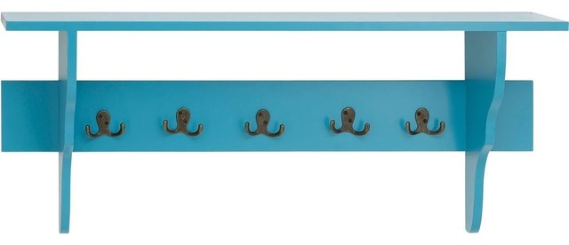 Wall Hook Shelf in Slick Blue Finish with Flat Top Design traditional-display-and-wall-shelves
