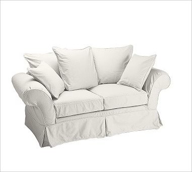 Charleston Love Seat Slipcover, Twill White traditional-chairs