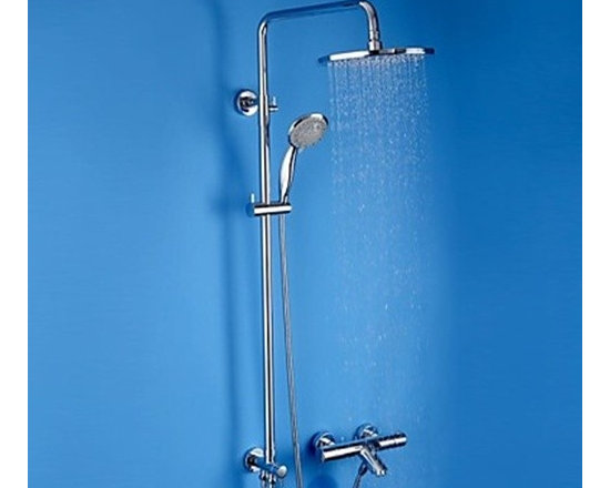 Shower Faucets - Contemporary Chrome Brass Thermostatic Shower Faucet with Air Injection Technology Shower Head-- FaucetSuperDeal.com
