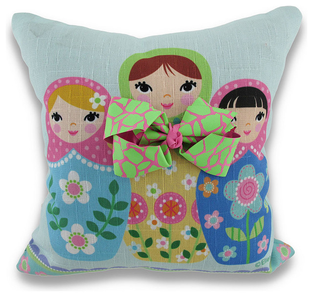 How To Make A Doll Decorative Pillow : Reversible What a Doll Nesting Doll Matryoshka Doll Throw Pillow - Contemporary - Decorative ...