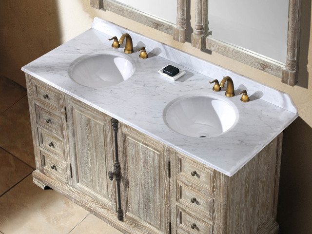 """59.25"""" Antique Chic Double Bath Vanity - Light Muddy Grey traditional-bathroom-vanities-and-sink-consoles"""