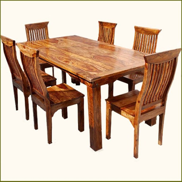 Rustic 7 pc solid wood dining table chair set rustic for Kitchen table sets with bench and chairs