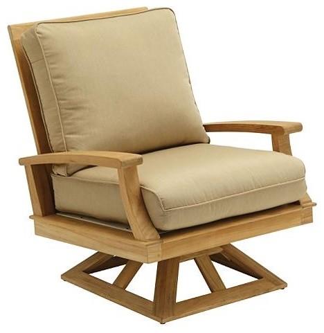Ventura Swivel Outdoor Rocker Arm Chair with Cushion, Patio Furniture ...
