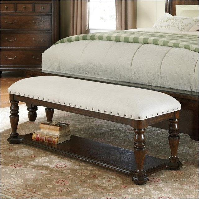 Pulaski saddle ridge bed bench in aged pecan finish traditional upholstered benches Bed benches