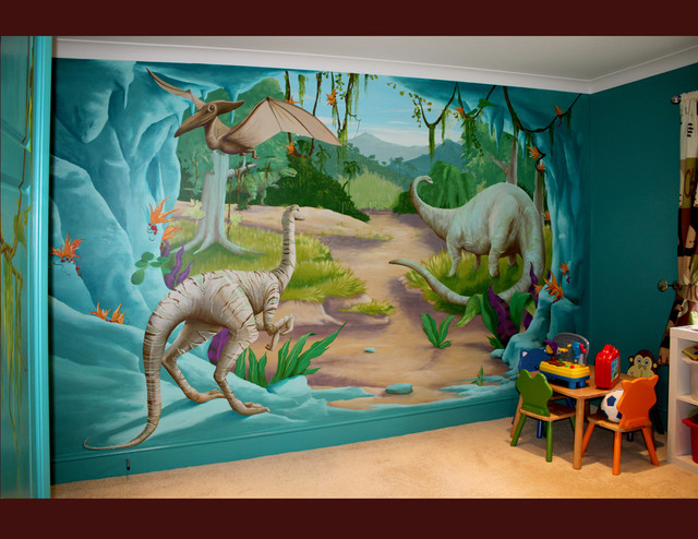 Murals contemporary kids manchester uk by one red for Dinosaur mural ideas