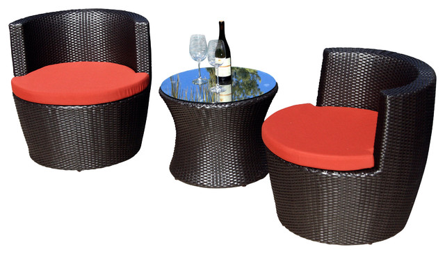 Pineapple 3 Piece Stacking Patio Chat Set, Henna Cushions modern-patio-furniture-and-outdoor-furniture