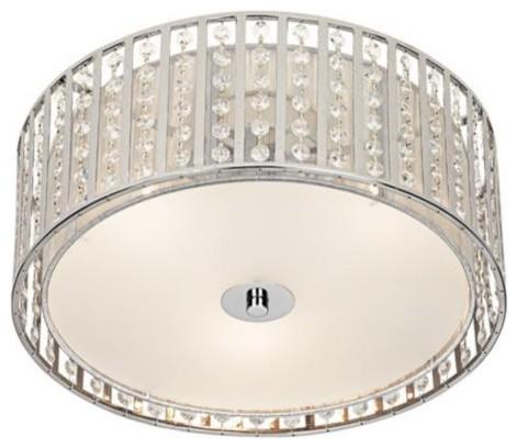 Possini Chrome And Crystal Strands Flushmount Ceiling Light contemporary-flush-mount-ceiling-lighting