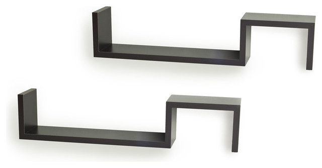 """S"" Wall Mount Shelves (Set of 2) - Contemporary - Display And Wall Shelves - by Danya B"