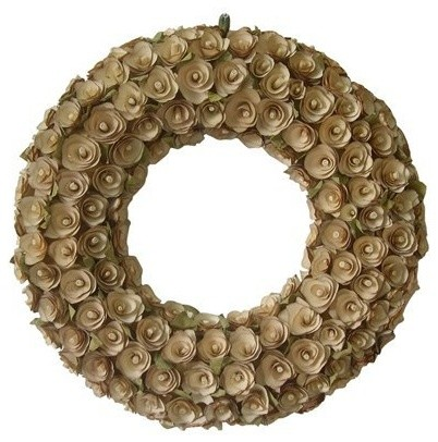 Smith & Hawken Cream Curled Wood Wreath contemporary-wreaths-and-garlands