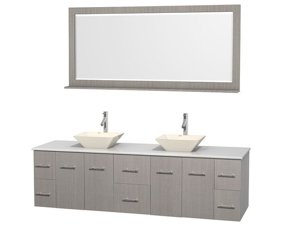Wyndham Collection - 80 in. Double Bathroom Vanity in Gray Oak, White Man-Made Stone Countertop, Pyra - Simplicity and elegance combine in the perfect lines of the Centra vanity by the Wyndham Collection . If cutting-edge contemporary design is your style then the Centra vanity is for you - modern, chic and built to last a lifetime. Available with green glass, pure white man-made stone, ivory marble or white carrera marble counters, with stunning vessel or undermount sink(s) and matching mirror(s). Featuring soft close door hinges, drawer glides, and meticulously finished with brushed chrome hardware. The attention to detail on this beautiful vanity is second to none.