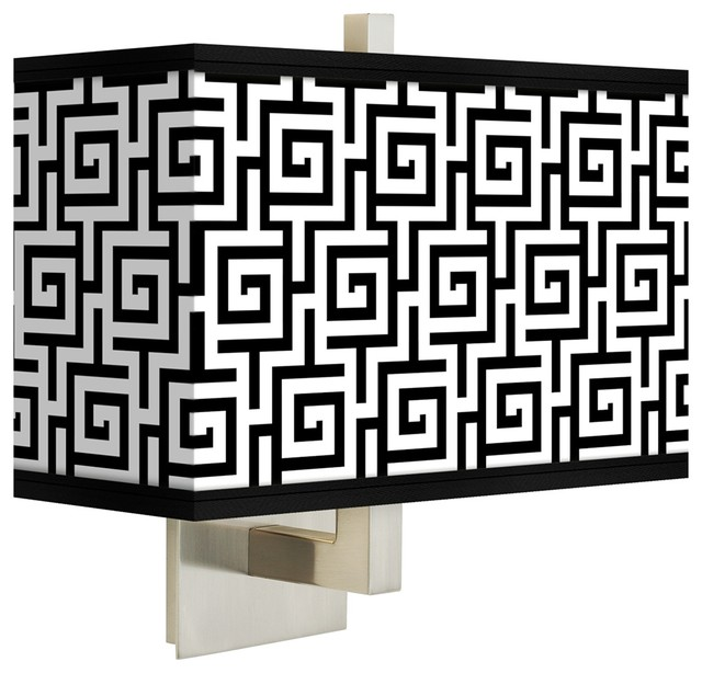 Greek Key Wall Decor : Asian greek key rectangular giclee shade wall sconce