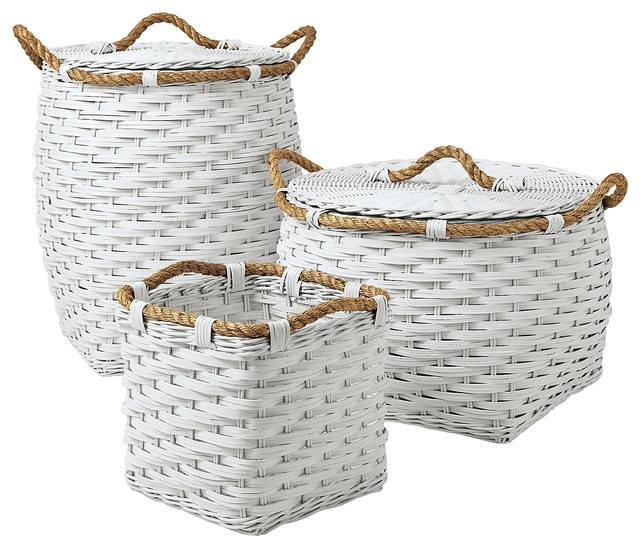Rope Bin Collection, White - Contemporary - Baskets - by Serena & Lily