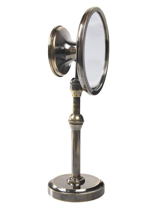 """Inviting Home - Vanity Magnifying Mirror - magnifying mirror with large slightly magnifying concave front and smaller flat mirror back; 3-1/2""""x 5"""" x 13""""H The vanity magnifying mirror has traditionally vacillated between the ornamental and practical. Huge and over decorated wall mirrors have been de rigueur for centuries. Strangely enough it�s hard to find a modest practical table mirror made with both ease of use and aesthetics in mind. A synthesis of form and function this magnifying mirror stands on a base replicating part of a Georgian scientific instrument. Vanity mirror telescopes up and down. This magnifying mirror angles by adjusting a clever ball-joint. Sleek and classy mirror has large slightly magnifying concave front and smaller flat mirror back"""
