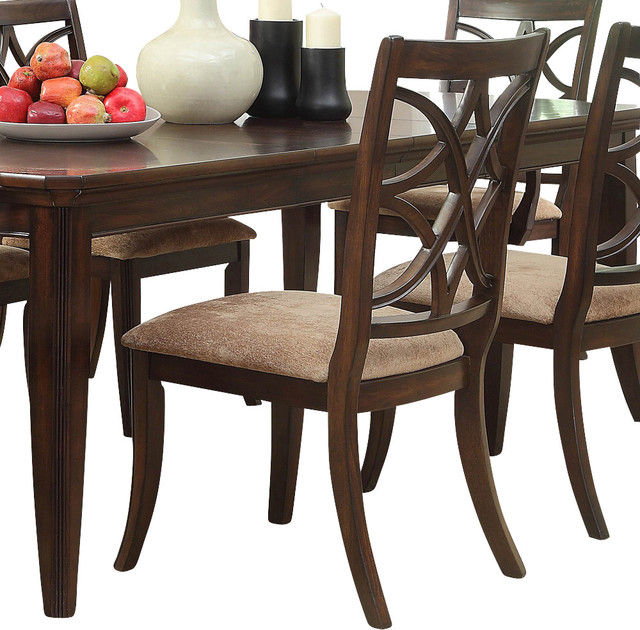 Homelegance Keegan Side Chair with Beige Fabric Seat in Brown Cherry - Traditional - Dining ...