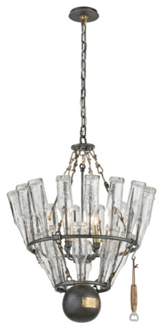 121 Main Old Silver and Brass Accents Four Light Two Tier Chandelier modern-chandeliers