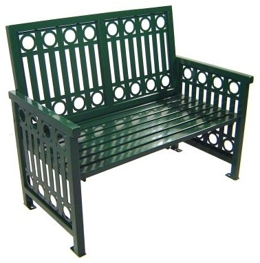 Paris Equipment Arcadia Steel Commercial Park Bench modern-patio-furniture-and-outdoor-furniture