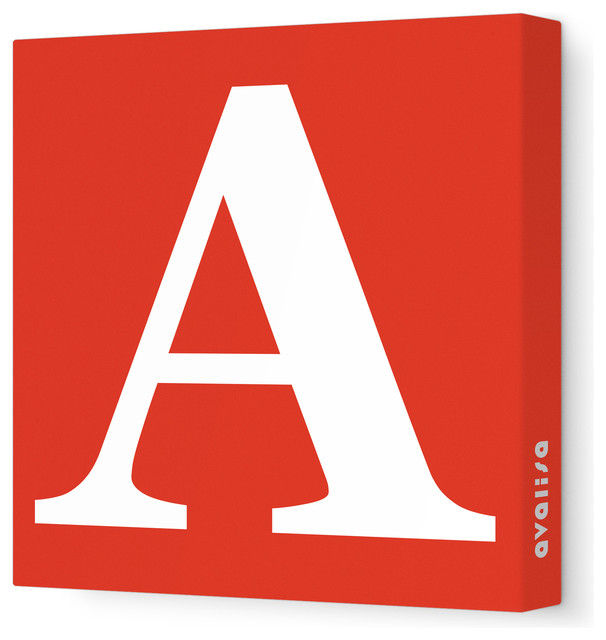 "Letter, Upper Case 'A' Stretched Wall Art, Red, 28"" x 28"" modern-kids-decor"
