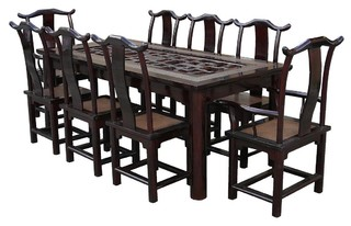 vintage chinese rattan open carving panel center dinning set asian dining tables san. Black Bedroom Furniture Sets. Home Design Ideas