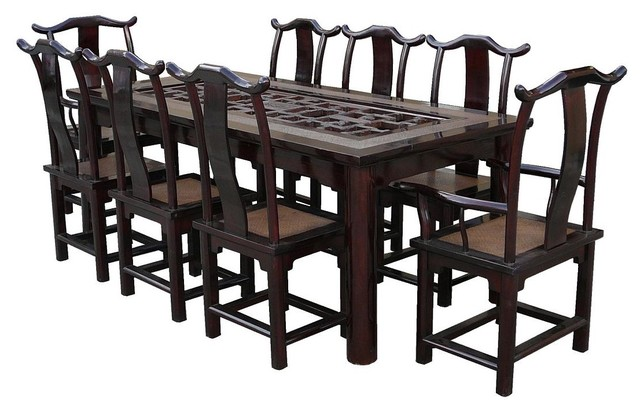 Vintage Chinese Rattan Open Carving Panel Center Dinning Set Asian Dining