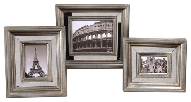 Hasana Antique Silver Photo Frame Set of 3 traditional-picture-frames