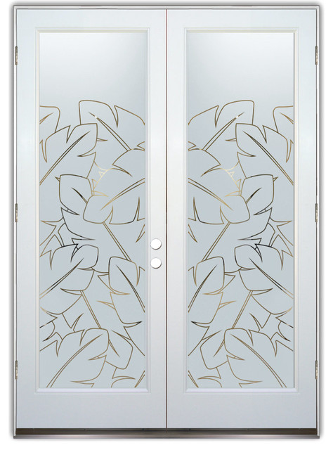 Glass front entry doors frosted obscure etched glass banana leaves