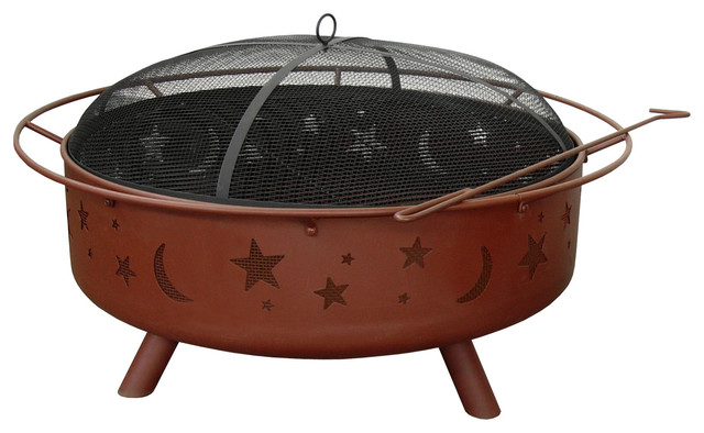 Super Sky Stars And Moon/Georgia Clay Finish with Poker & Spark Guard Only contemporary-fire-pits