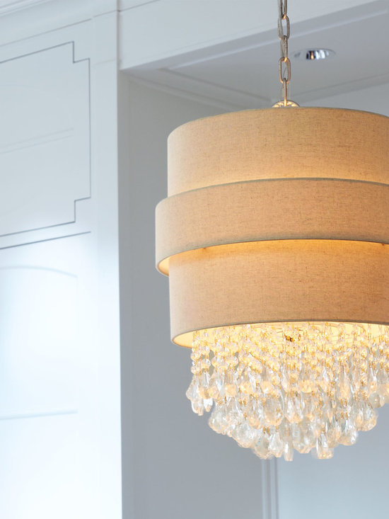 Lighting - Cascades of glittering glass crystals emerging from an orbit drum shade turn this elegantly simple chandelier into jewelry for your ceiling.