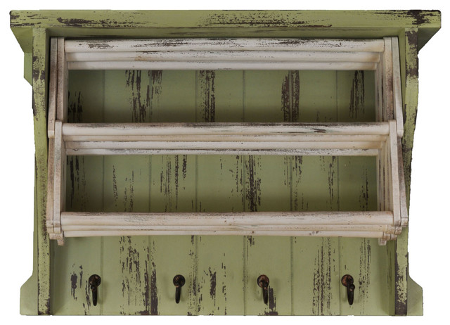Distressed Wood Drying Rack With Shelves Hooks White