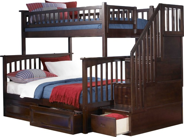 Solid Wood Twin Over Full Bunk Bed in Antique Walnut