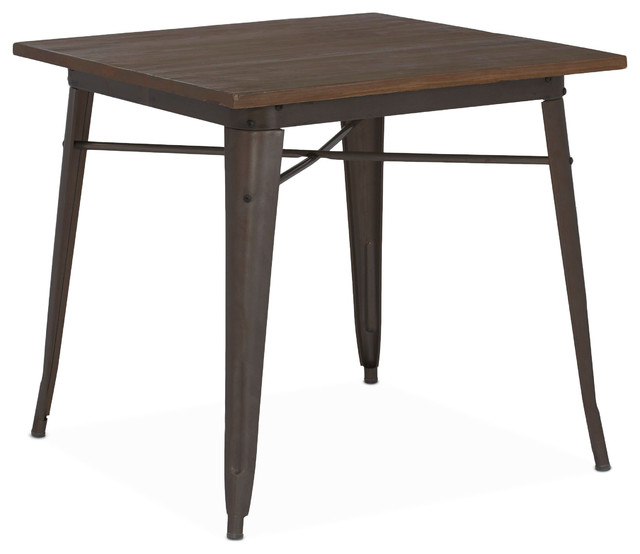 Tolix style rustic matte elm wood top steel dining table for Table style tolix
