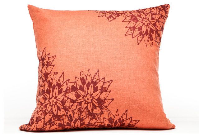 Indochine Paradise Floral Pillow, Spice/Cherry contemporary-decorative-pillows