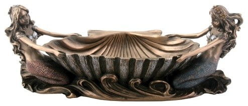 9.5 Inch Collectible Bronze Colored Double Mermaid Jewelry Dish Statue beach-style-jewelry-boxes-and-organizers