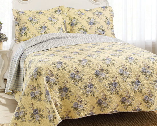 Laura Ashley - Laura Ashley Linley Reversible 3-piece King-size Quilt Set - This Laura Ashley quilt set sports a yellow and blue floral print.  This quilt is fully reversible to a striped back.