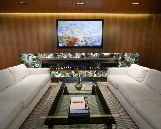 Client Case Study: Long Linear Fire Feature - VGF was approached to create a custom linear fireplace that measured nine feet in length, 14 inches in height and as shallow in depth as possible.