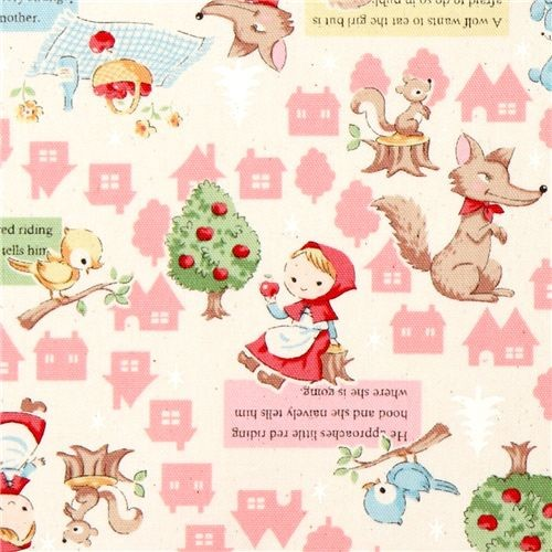 Cute white little red riding hood fabric kokka japan for Cute childrens fabric